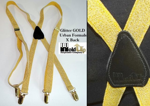 "Hold-Ups Urban Glitter 3/4"" Suspender in X-back with Gold tone metal No-slip Clips"