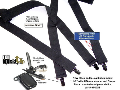 All black undergarment Holdup suspenders with black patented no-slip clips and X-back stylng