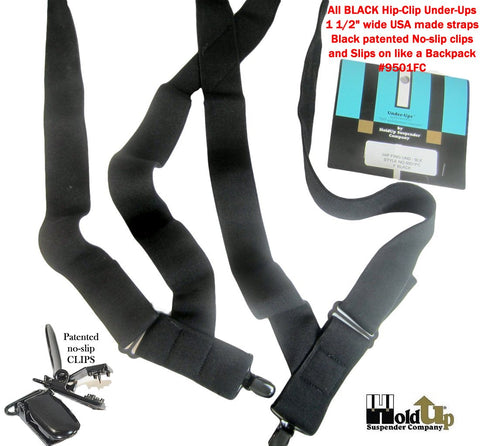 Black Under-Up hidden Holdup Trucker style suspenders with 2 patented black no-slip clips with locking center pin