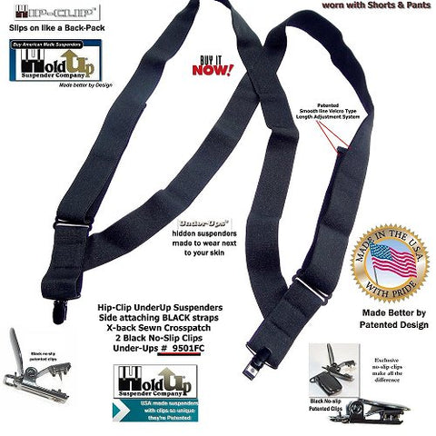 "Black 1 1/2"" wide Under-Up hidden Holdup undergarment suspenders that slip on like wearing a backpack"