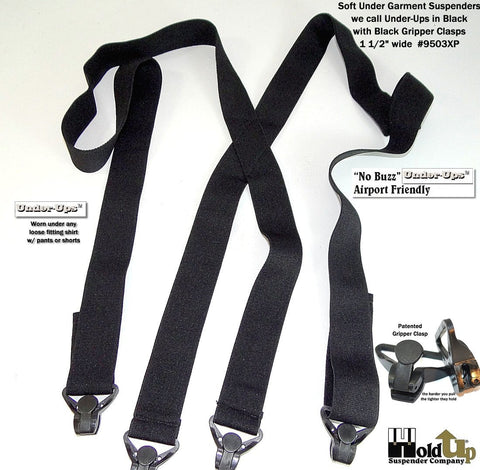 Black undergarment Holdup suspenders with 4 patented Gripper clasps