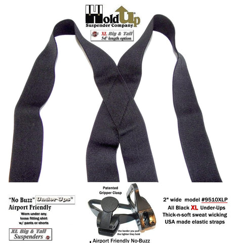 "2"" wide Black Undergarment Holdup X-back suspenders with jumbo Gripper Clasps"