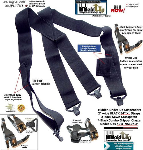 American Made HoldUp Brand smooth Under-Up All black XL Suspenders with 4 patented gripper clasps for the Big & Tall man