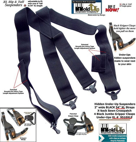 American Made HoldUp Brand smooth Under-Up All black XL Suspenders with 4 gripper clasps fro the Big & Tall man