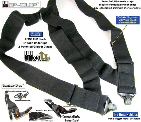 "Hip-Clip style black 2"" wide UnderUps with black jumbo gripper clasps"