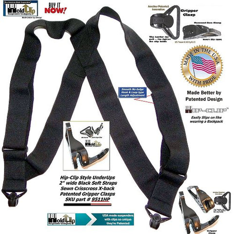 Holdup Airport Friendly hidden black side clip suspenders worn comfortably under your shirt
