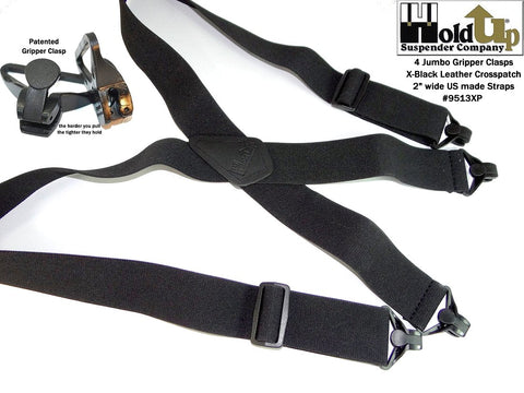 "Black 2"" wide No-Buzz airport friendly Holdup suspenders with jumbo black Gripper Clasps"
