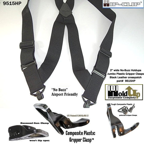 "Hold-Ups Airport Friendly Black 2"" Hip Clip No-buzz Suspenders w/ patented Gripper Clasps"