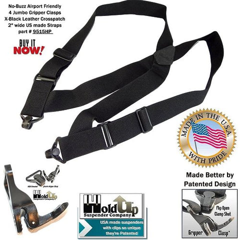 Airport Friendly Holdup All balck Under garment airport no-alarm side clip Suspenders made to wear under any loose fitting shirt.