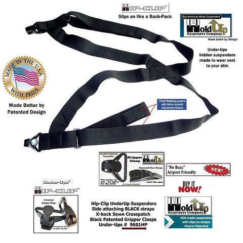Black Holdup hidden suspenders worn with shorts or pants that won't trigger metal detectors at airports