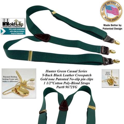 Casual Series Hunter Green Y-back clip-on Holdup brand suspenders with Gold tome patented no-slip pin clips