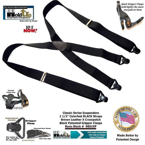Holdup Classic Series X-back Black suspenders with patented strong Gripper Clasps are made in the USA