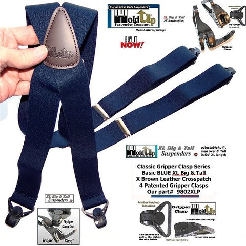 XL version of the Dark Blue Classic Series Holdup clip-on suspenders with stron Gripper Clasps