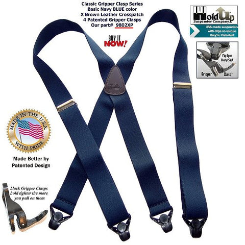 Classic Basic Blue X-back Holdup brand suspenders with brown leather logo embossed crosspatch have USA made quality.