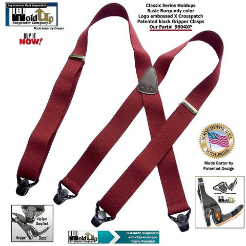 Classic X-back Holdup Suspenders in 9 colors now have option for the super strong black Gripper Clasps that hold tighter the harder you pull on them.