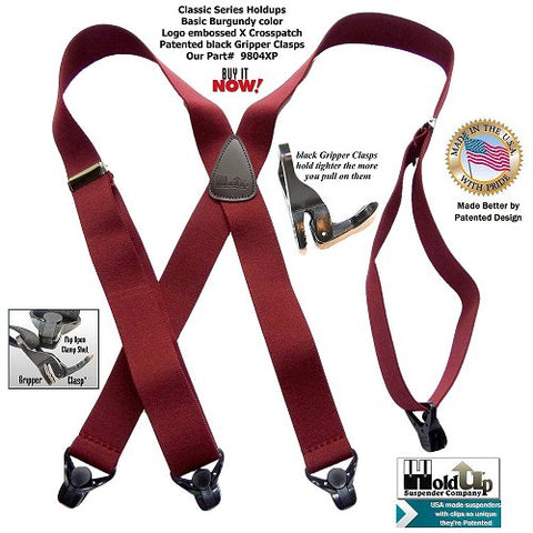 Classic X-back burgundy colored X-back low cost Holdup suspenders with Gripper clasp are made in the USA