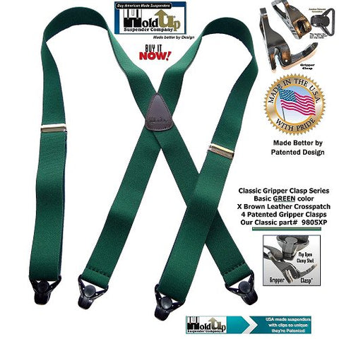 Classic Series Green Holdup X-back suspenders with patented composite plastic Gripper Claps are made in the USA by Holdup Suspender Company