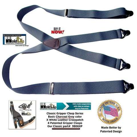 Classic Series X-back Charcoal Grey Holdup Suspenders with brown leather logo embossed crosspatch with black Gripper Clasps