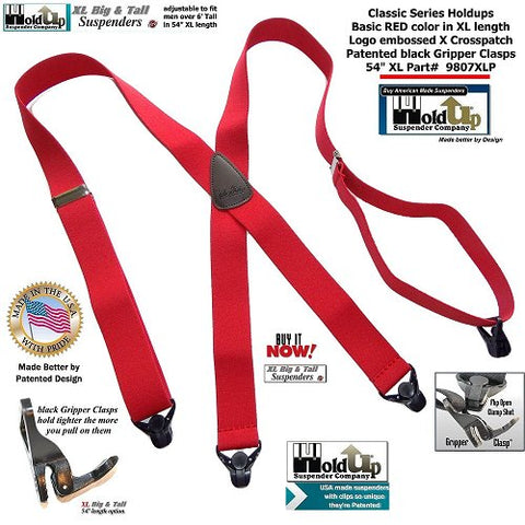 Holdup Suspender Company introduces the Classic Series XL Big and Tall bright red X-back suspenders with black super strong Gripper Clasps