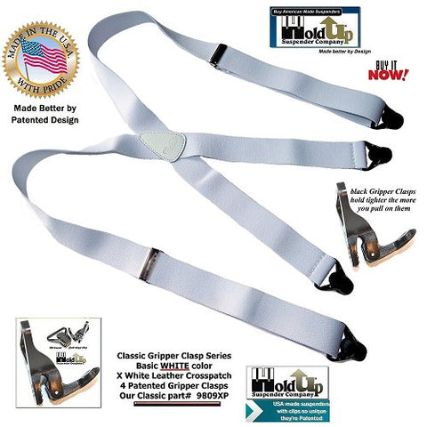 Classic Series all white Holdup X-back Holdup Suspenders with patented black Gripper clasps and white leather crosspatch