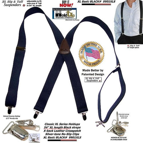 USA made Top quality basic Black X-back Holdup brand suspenders with silver no-slip clips