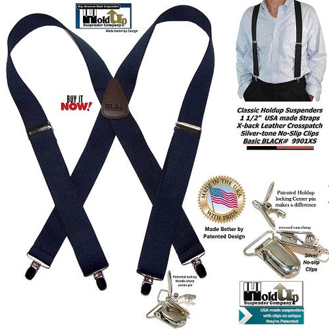Basic Black X-back Holdup Suspenders with silver-tone no-slip patented center pin type clips are made in the USA better by Patented design!