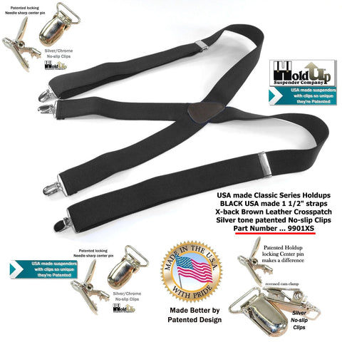 Black classic Holdup clip-on Suspenders with Brown leather logo embossed logo and silver no-slip patented clips