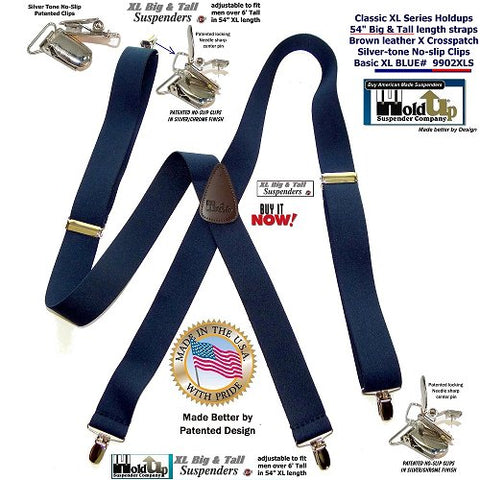 Classic Big and Tall XL Holdup Series X-back Navy Blue suspenders with silver tone no-slip clips