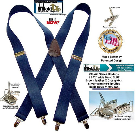 Traditional dark Blue X-back Holdup Suspenders with Brown leather logo embossed crosspatch