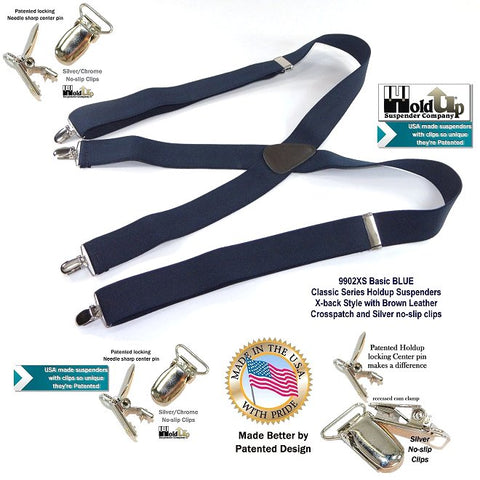 "HoldUp Classic Series 1 1/2"" Wide Basic Dark Blue X-back Suspenders with Patented Silver tone No-slip Clips"