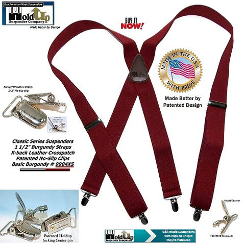 Basic Burgundy Holdup brand X-back suspender with silver center pin type patented no-slip clips