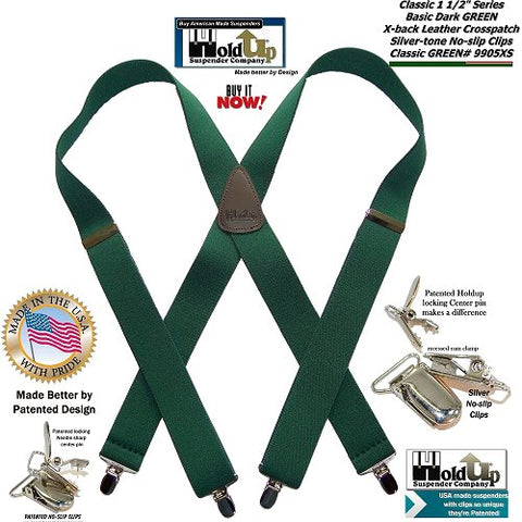 HoldUp Classic Series Dark Green Suspenders in X-back style with Patented Silver-tone No-slip Clips and they're made in the USA.