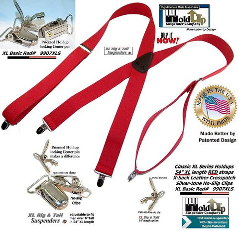 XL Red clip-on Holdup suspenders have chrome finished patented NO-SLIP® suspender clips and silver ton metal strap length adjuster