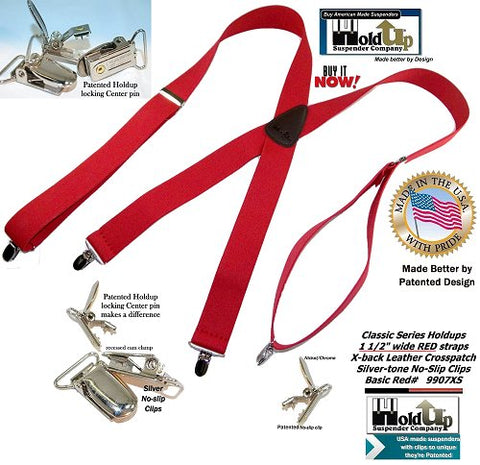 "Bright Red Classic Holdup clip-on suspenders with silver no-slip center pin clips and 1 1/2"" wide straps"