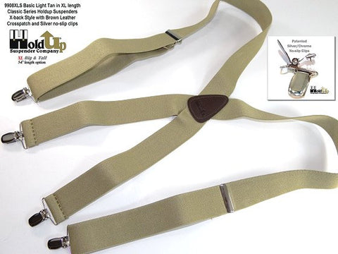 Big and Tall XL light tan Holdup suspenders with X-back styling