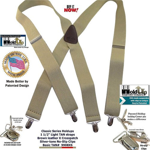 Light Beige Classic X-back Holdup suspenders with patented silver-tone no-slip clips are made in the USA