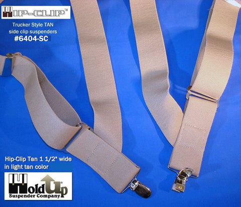 Tan Hip-Clip style trucker side clip Holdup suspenders