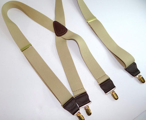 Casual Series Tan X-back Holdup suspenders with X-back styling