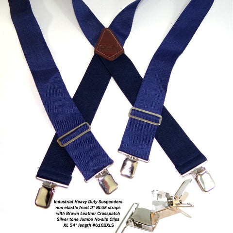 Navy Blue Industrial Series Holdup work suspenders with silver jumbo no-slip clips