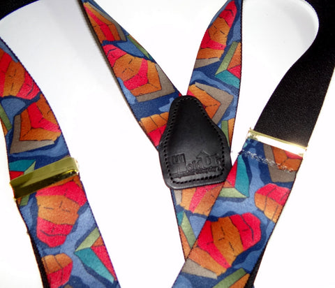Collage of Colors Designer Series Y-back Holdup Suspenders with silver no-slip clips