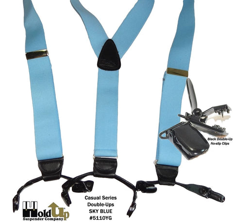 Light Sky Blue Double-Up style holdup suspenders with patented black no-slip clips