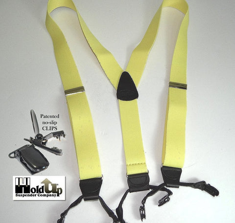 Light Lemon Zest Yellow dressy dual clip Holdup suspenders in classic Double-Up style