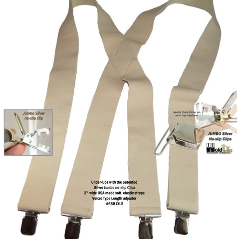 "2"" wide beige Undergarment X-back suspenders with jumbo no-slip patented clips"