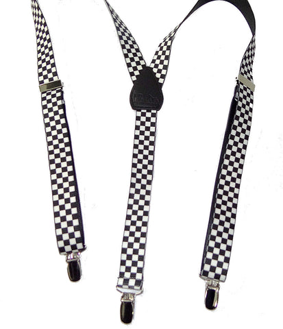 "Urban Youth black and white checked suspenders are made shorter and narrower,42""x1"", for a trendy fashion statement to smaller teens"