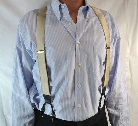 Champagne Tan satin finished dual clip Double-Up style Holdup suspenders are made in the USA with patented no-slip clips