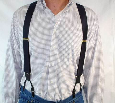 Black Sapphire satin finished Double-Up Style suspenders are made in the USA by Holdup Suspender Company