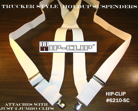 "Hold-Ups All White Trucker Style 2"" Wide Hip-Clip Suspenders with Patented Jumbo No-slip Clips"