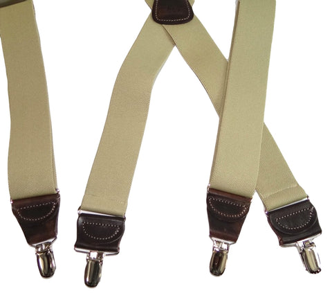 Sand Dunes tan Casual Series Holdup X-back suspenders with patented chrome/silver no-slip clips