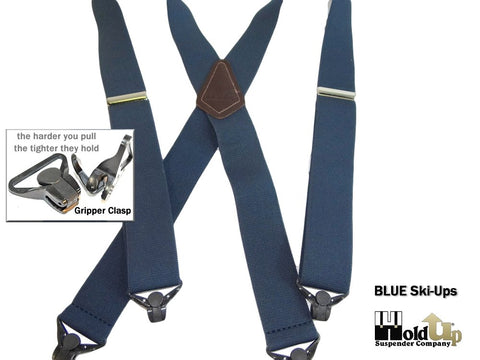 "Hold-Ups Blue Snow Ski Suspenders, Patented Gripper Clasps 1 1/2"" wide X-back crosspatch with Holdup logo"