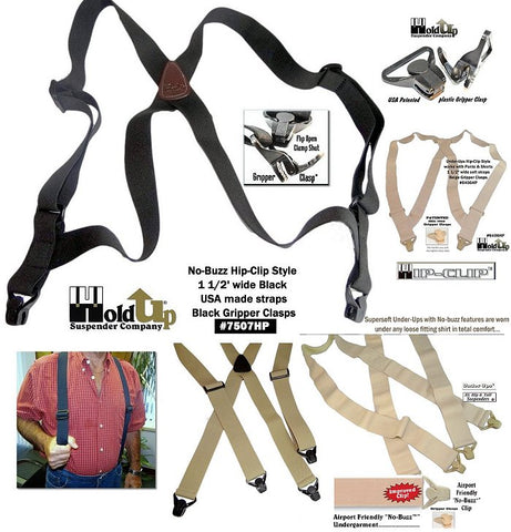 No-Alarm Airport Friendly USA made Holdup suspenders in various styles won't trigger building metal detectors